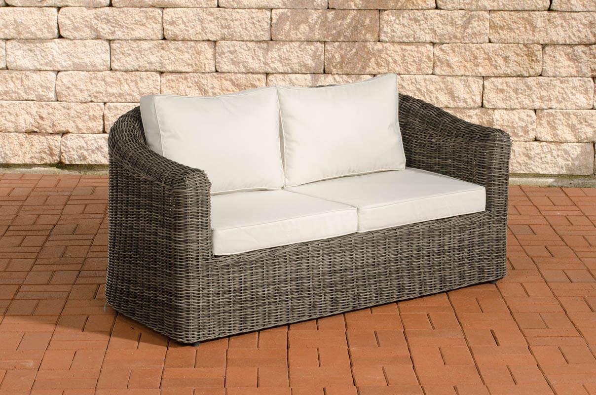 Polyrattan 2er Sofa Bergen-rund_graumeliert-Cremeweiß | Garten > Gartenmöbel > Loungemöbel-Garten | Loraville