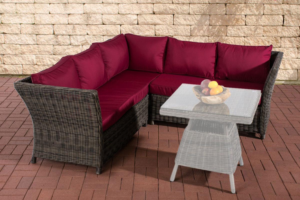 Rundrattan Sofa Santa Lucia 5mm-rund/graumeliert-Rubinrot | Garten > Gartenmöbel > Loungemöbel-Garten | Loraville