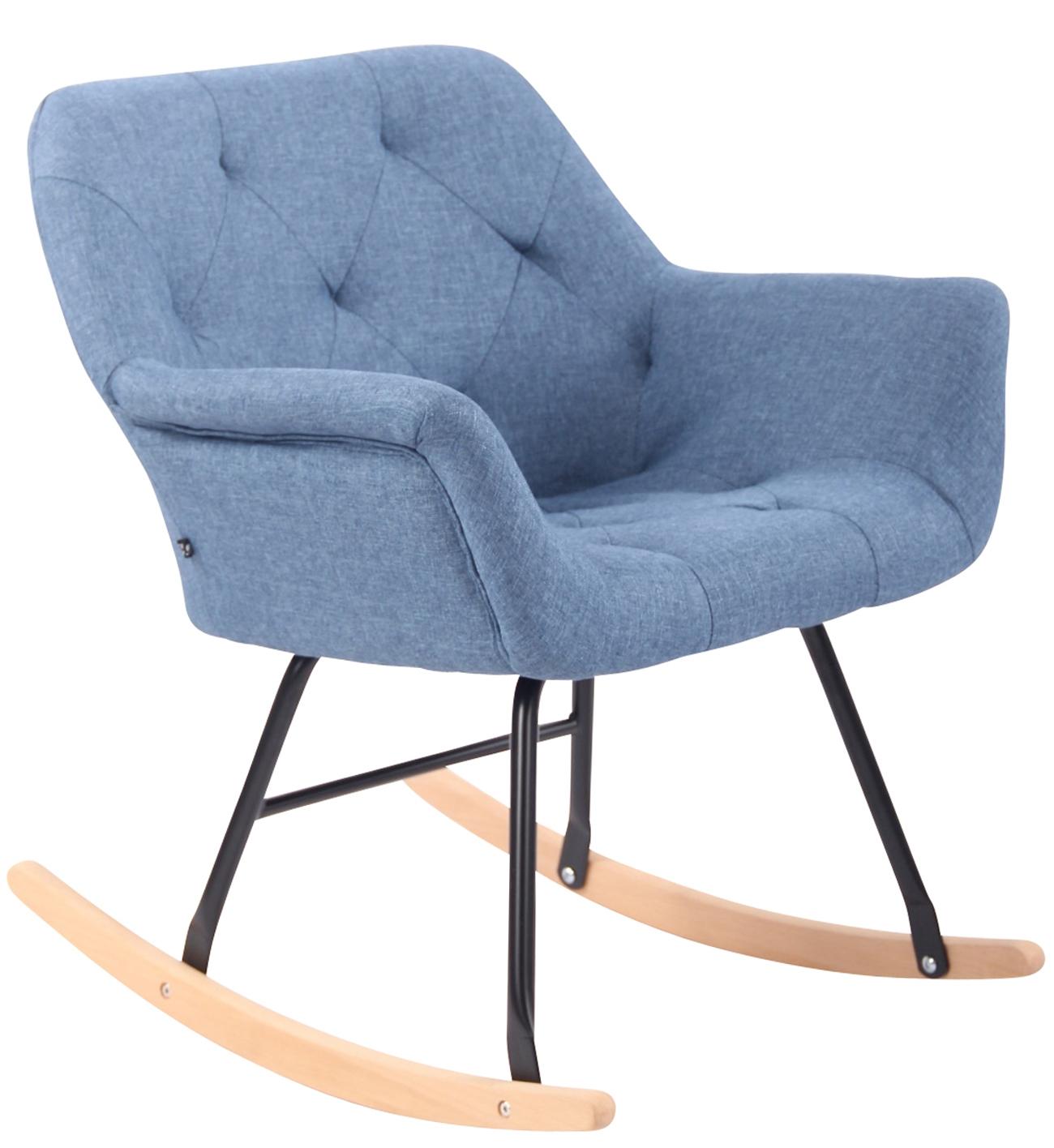 Schaukelstuhl Cabot Stoff-blau | Wohnzimmer > Stüle > Schaukelstühle | CLP