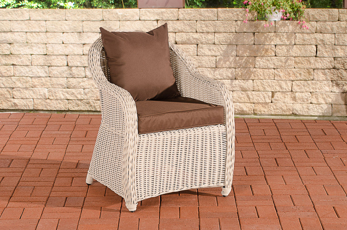 Polyrattan Sessel Farsund-rund_perlweiß-Terrabraun | Wohnzimmer > Sessel > Rattansessel | Loraville