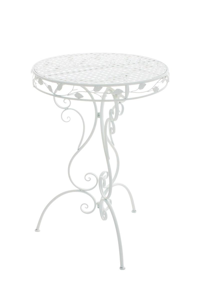 MIADOMODO Bistrotisch Stehtisch aus Aluminium in Silber mit Husse in Wei/ß