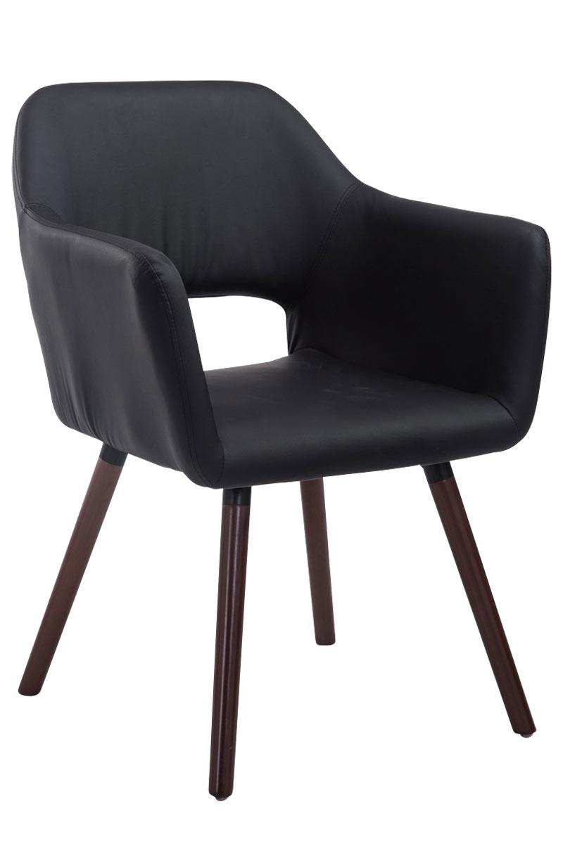 Besucherstuhl Auckland Kunstleder -schwarz-Walnuss | Büro > Bürostühle und Sessel  > Besucherstühle | Timwood Experience