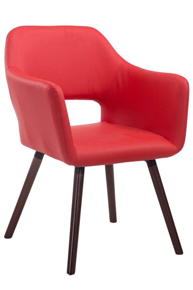 Besucherstuhl Auckland Kunstleder -rot-Walnuss | Büro > Bürostühle und Sessel  | Timwood Experience